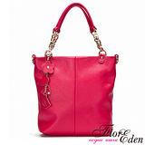 DF FlorEden - 紐約魅力吊飾真皮款手提式3用包-魅力桃