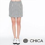 CHICA 高腰千鳥格窄裙-米白
