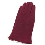 chloe 波浪邊造型混喀什米爾羊毛手套(紅色)