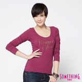 SOMETHING 燙鑽大圓領長袖T恤-女-紫紅