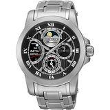 SEIKO Premier 人動電能月相腕錶-黑/41mm 5D88-0AG0D(SRX013J1)