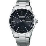 SEIKO SPIRIT系列太陽能都會腕錶-黑x銀/39mm V158-0AM0A(SBPX063J)
