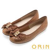 ORIN 時尚大躍升 織帶蝴蝶結花紋平底娃娃鞋-棕色