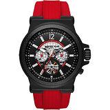Michael Kors Dylan 碳纖維元素鏤空機械腕錶-黑x紅/48mm MK9020