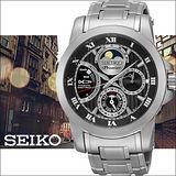 SEIKO Premier 人動電能羅馬數字月相腕錶-黑/41mm/5D88-0AG0D(SRX013J1)