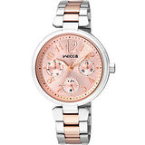 CITIZEN wicca 甜蜜時刻日曆腕錶-粉紅x雙色版/33mm BH7-431-91