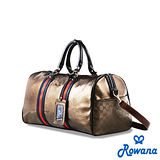 Rowana 經典織帶休閒旅行袋 (咖啡金)