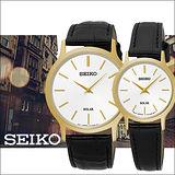 SEIKO 精工 簡約大三針太陽能電力時尚情侶對錶-男38mm/V115-0BE0K女26mm/V115-0BS0K