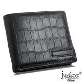 【justloveParis真皮皮夾】法國名品簡約時尚鱷魚紋小牛真皮短夾附禮盒(黑)BW-0153-3
