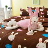 Pure One 超保暖搖粒絨-迷戀兔-咖-雙人四件式床包被套組