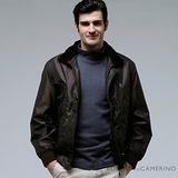 ROBERTA諾貝達 台灣製 時尚百搭 內裡舖棉 可拆式毛領 夾克外套 ROT51-88深褐色