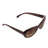 CHANEL 品牌字樣邊緣印字珍珠點墬太陽眼鏡(咖啡)
