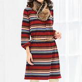 日本Portcros 現貨-領口折縫泡泡袖洋裝(橙紅色/3L)