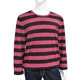 BURBERRY 條紋美麗諾羊毛男性長袖針織上衣-磚紅色【XL號】