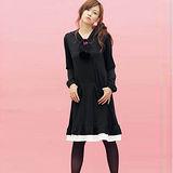 日本Portcros 現貨-毛球摺邊下擺連帽洋裝(黑色/L)