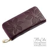 DF Flor Eden皮夾 - 山茶花真皮壓紋款單拉鍊長夾-深紫