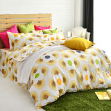 美夢元素 天鵝絨雙人加大四件式 全鋪棉兩用被套床罩組 風鈴花海