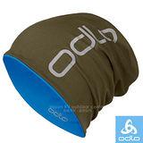 【瑞士 ODLO】中性款 雙層抗UV彈性透氣保暖帽(僅45g.可遮耳雙面載)防晒帽/極輕超柔細彈力纖維.抗UV.快乾/792680 軍綠/鈷藍