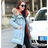 【預購MY-CHIC】韓系 時尚歐美風大毛領個性長版羽絨棉大衣外套2817(2色)