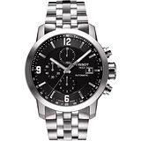TISSOT T-Sport PRC200 競速三眼計時機械腕錶-黑x銀/43mm T0554271105700