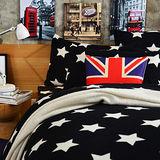 Pure One 超保暖搖粒絨-迷戀星-黑-雙人四件式床包被套組