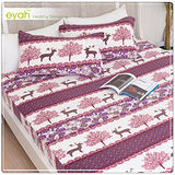 【eyah】珍珠搖粒絨雙人加大床包枕套三件組-麋鹿圖騰