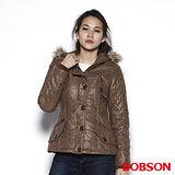 BOBSON 女款燙金仿麂皮鋪棉外套(卡其34117-72)