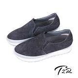 【韓國T2R】高級皮革鋸齒底內增高樂福鞋 ↑5cm 灰(5500-0740)