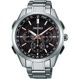 SEIKO Brightz鈦計時太陽能電波腕錶-黑x玫瑰金標/43mm 8B92-0AA0K(SAGA199J)