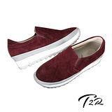 【韓國T2R】高級皮革鋸齒底內增高樂福鞋 ↑5cm 酒紅(5500-0742)