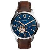 FOSSIL 日月傳承機械腕錶-銀框藍x咖啡色皮帶