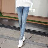 【時尚媽咪】淺藍色時尚燙鑽托腹牛仔褲