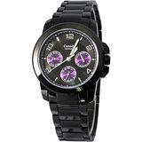 Canody 紫色魔力三眼時尚腕錶-黑x紫色/33mm/CMB5620-1E