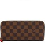 Louis Vuitton LV N60534 Clemence 棋盤格紋拉鍊長夾.橘紅 預購