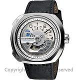 SEVENFRIDAY V1 設計師工藝自動上鍊機械錶-銀x黑/50mm V1