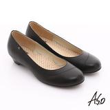 【A.S.O】3E舒活寬楦 珠光牛皮奈米窩心低跟鞋(黑)