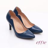 【effie】輕透美型 鏡面牛皮側邊獨特線條素色高跟鞋(深藍)