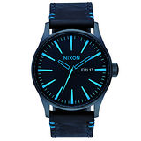 NIXON SENTRY LEATHER 冷冽爵士時尚腕錶-藍