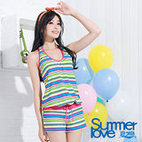 【夏之戀TRAVEL FOX】亮彩連身褲三件式泳衣-加大碼(C15714)