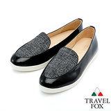 女Travel Fox 漆皮亞麻紋舒適鞋915845(黑-401)