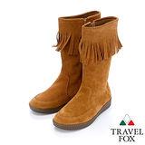 女Travel Fox 柔軟牛皮流蘇靴915851(駱駝-248)