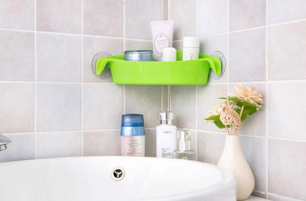【PS Mall】 三角形吸盤置物架 多用途浴室廚房置物轉角多用收納架 (J579)