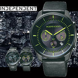 INDEPENDENT 綠光戰士三眼皮帶時尚計時腕錶-綠X黑/42mm/ KF5-144-52