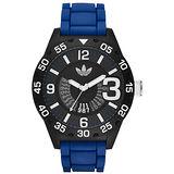 adidas 城市大爆炸數字日期腕錶-黑x深藍錶帶