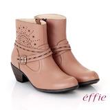 【effie】都會休閒 柔軟真皮雕花奈米短靴(卡其)