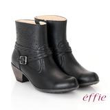 【effie】都會休閒 柔軟真皮雕花奈米短靴(黑)