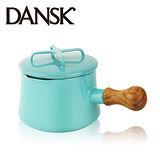 【丹麥DANSK】琺瑯柚木單把燉煮鍋13.5cm(湖水綠)