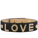 JUICY COUTURE 黑色皮革LOVE手環