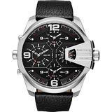 DIESEL 銀河遊俠四時區腕錶-銀框黑x皮帶