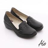 【A.S.O】美型氣墊 全真皮縷空雕花窩心氣墊鞋(黑)